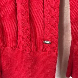 Lacoste Sweaters - Lacoste Red Cable Knit Button Front Sweater S